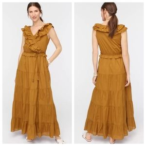 J. CREW Ruffle Front Maxi Dress With Braided Belt